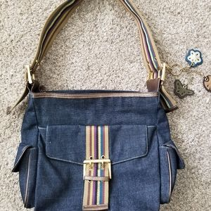 Franco Sarto Jean bag with striped detais.